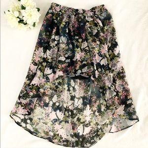 Zara Woman High-low Floral Skirt
